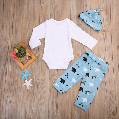 3 Pcs Newborn Baby Brother Boys Bears Bodysuit Onesie Tops+Long Pants+Hats Outfits Clothes Clothing Set
