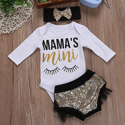 Kids Baby Girls Summer Outfit Clothes Long Sleeve T-shirt Tops+ Triangle shorts +Headband