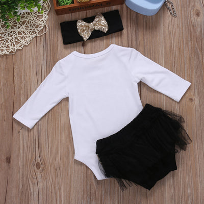 3Pcs/Set Kids Toddler Baby Girls Summer Outfit Clothes Long Sleeve T-shirt Tops+ Triangle shorts +Headband 3PCS Set
