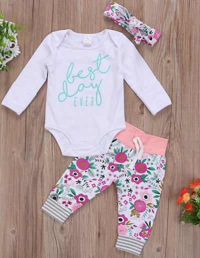 Newborn Baby Boys Girls Clothing Long Sleeve Romper + Pants +Headband Outfits Set Clothes