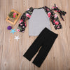 Kids Baby Girls Outfit Long Sleeve Floral Tops T-shirt + Pants + Headband Clothes Costume Clothing