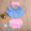 Baby Kids Girl Ruffle Off Shoulder Top Tank+Triangle shorts +Headband Outfit Sun suit Clothes Set