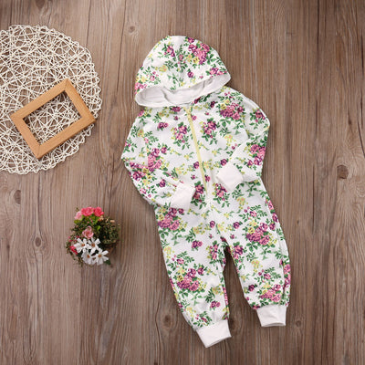 Spring Autumn Newborn Kid Baby Girl Floral Zip Hoodie Hooded Long Sleeve Jumpsuit Romper Outfits