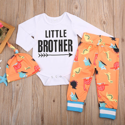 3PCS Infant Baby Boys Girls Long Sleeve Letter Tops Romper +Deer Pants +Hat Outfit Clothes Baby Clothing