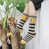 Girls Cartoon Socks Stripes Smile Face Cotton Socks Girls Socks Below Knee Children's Socks