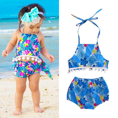 Baby Clothes  Summer Infant Baby Girls Floral Backless Tops Short Pants