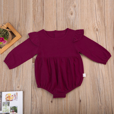 Spring Autumn Infant Baby Girl Butterfly Sleeve Outfits Long Sleeve Romper Toddler Kids Neck Button Jumpsuit Clothing
