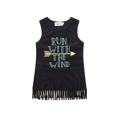 Cute Sleeveless Letter Printed Arrow Dress Girls Kids Soft Tassel Cotton Princess Tassel Dress