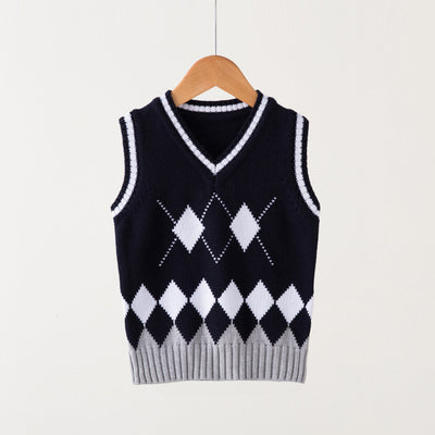 V-neck Baby kids Girls Boys Knitted Vest Cardigan School Uniform Sweater Children's clothing