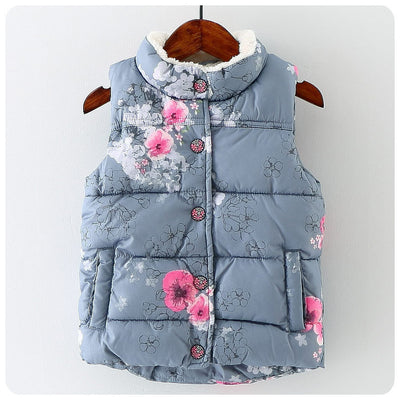 Kids Girls Vest Floral Baby Girls cotton Thick Toddler Kids Vest Girls Outerwear Winter Children Clothing