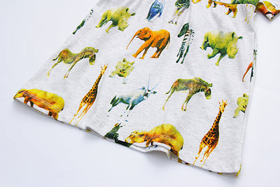 New Girls Short Sleeve cute animals Dress Cotton Casual Dresses for children Kids Clothing