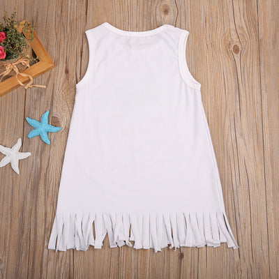 Newborn Baby Girls Tassel Sleeveless flamingo Dresses Cotton Kids Beach Casual Dresses