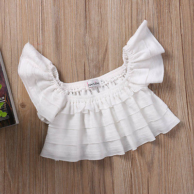 Lace White Newborn Baby Girls Clothes Set Off Shoulder Tops White T-Shirt Baby Outfits
