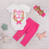 born Baby Girl Deer Romper+ Rose Red Pants + Sequins Headband Outfits Set Clothes