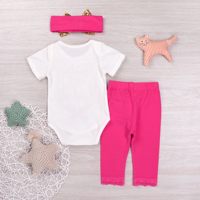 Christmas Newborn Baby Girl Deer Romper+ Rose Red Pants + Sequins Headband 3Pcs Outfits Set Xmas Clothes