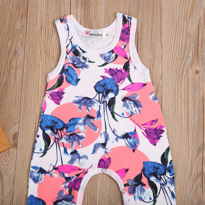 Summer Infant Baby Halter Floral Romper Sleeveless Sunsuit Jumpsuit Outfits Baby One-Pieces Rompers Clothes
