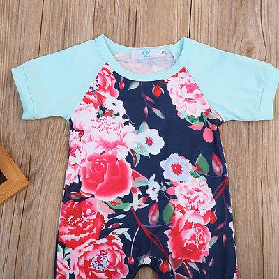 Newborn Infant Baby Girls Clothes Floral Short Sleeve Romper Stitching Jumpsuit Tracksuit Outfits Sunsuit Clothing