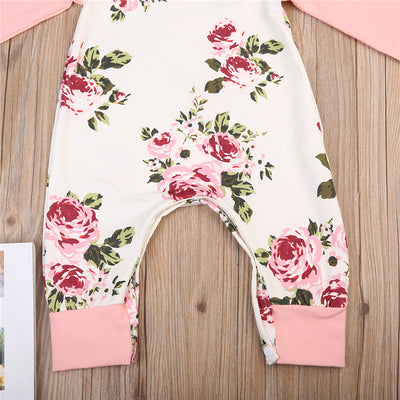 Autumn Newborn Kids Baby Girls Long Sleeve Floral Romper Stitching Jumpsuit Clothes Outfits 0-24M