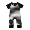 0-6M born Kids Baby Boy Girls Infant Striped Romper kneecap Stitching Jumpsuit Clothes Outfit