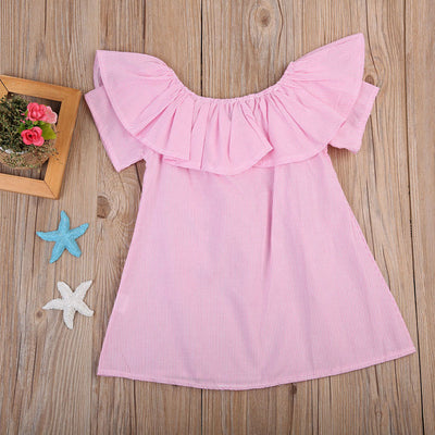 Pink Striped Flower Baby Girls Toddler Kids Dress Ruffle Princess Party Dress Off-Shoulder Dresses