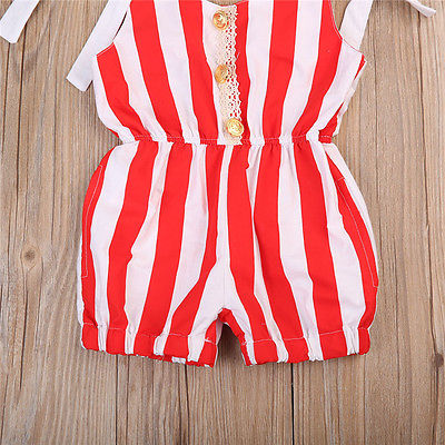 Cute Newborn Baby Girls Red Striped Romper Lace Shoulder Jumpsuit Outfits Sunsuit Clothes