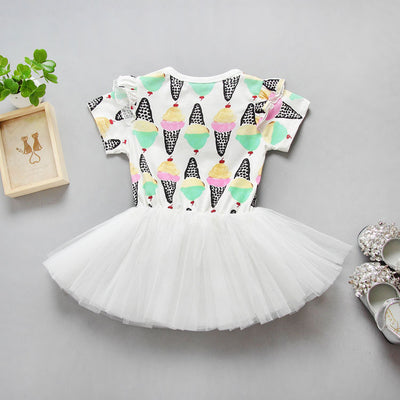 Kids Baby Girls Summer Ice cream Lace Ruffled Dresses Girls Birthday Party Tutu Dress Sunsuits