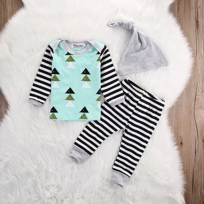 Baby Boy Girl Christmas Tree Tops T shirt Long Sleeve Cotton Pants Bottoms Hat 3pcs Outfits Set