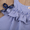 Blue Striped Dresses Kids Baby Girls Off Shoulder Floral Tops Stripe Dress Outfits
