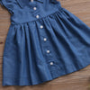 Kid Girls Dresses Toddler Denim Single-breasted Dresses Clothes Summer Ruffle Sleeve Outfits Short Mini Dress Girls Clothing