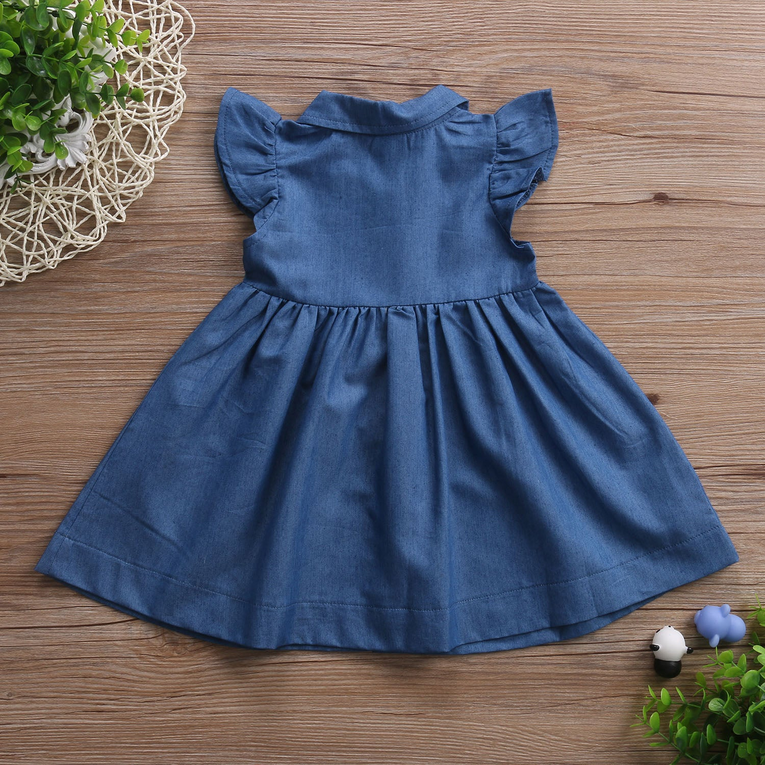 4dc5225f28 Kid Girls Dresses Toddler Denim Single-breasted Dresses Clothes Summer Ruffle  Sleeve Outfits Short Mini