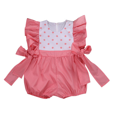 Newborn Kids Baby Girl Clothes Pink Polka Dot Romper Side straps Jumpsuit Romper Bodysuit Outfits