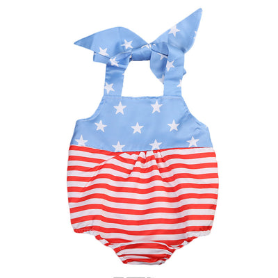 Newborn Kids Baby Girl Patchwork Romper Sleeveless Halter national flag Jumpsuit Outfit Clothes
