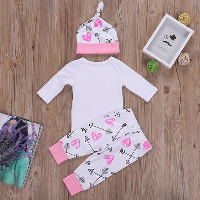 Baby Girls Clothing Infant Newborn Baby Girl Long Sleeve Romper+ Arrow Pants +Hat Clothes Outfit