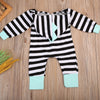 Spring Autumn Newborn Baby Girl boy Clothes Striped Hooded Romper Zipper Jumpsuit Bodysuit Outfit One-piece