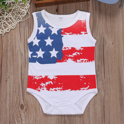 Newborn Infant Baby Girl Boy national flag Romper Sleeveless Love Jumpsuit Cotton Outfit