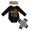 born Baby Girl Tops Long Sleeve Romper+ Leg Warmer +Headband Outfit Set Clothes