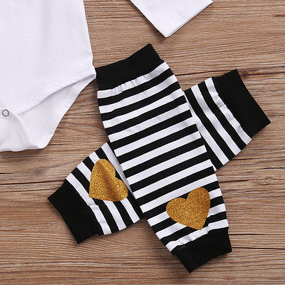 Newborn Baby Clothing Toddler Baby Girl Tops Long Sleeve Romper+ Leg Warmer +Headband 3Pcs Outfit Set Clothes 0-24M