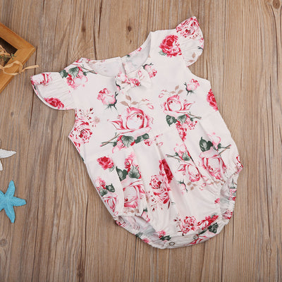 Newborn Baby Clothing Girl Kid Floral bow knot Romper Jumpsuit Outfit Sun suit Clothes