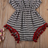 born Baby Playsuit Cotton Plaid Romper Infant Girls Tassel Jumpsuit Sunsuit Baby Clothing