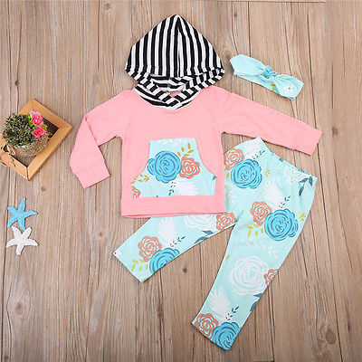 Newborn Baby Girls pocket Long Sleeve Hooded Top +Floral Pants Leggings Outfits Clothes