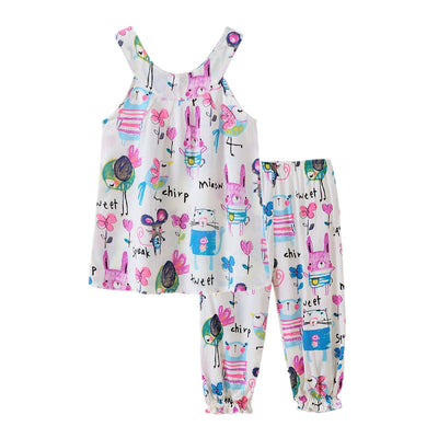 Cotton Baby Girls clothing sets Kids Children Suits Girls vest+pants beach Clothing Sets