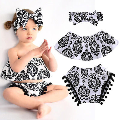 3PCS Newest Fashion Baby Girls Clothes Toddler Newborn Baby Girls Cotton Tops Playsuit Floral Pants Outfits Set Clothes