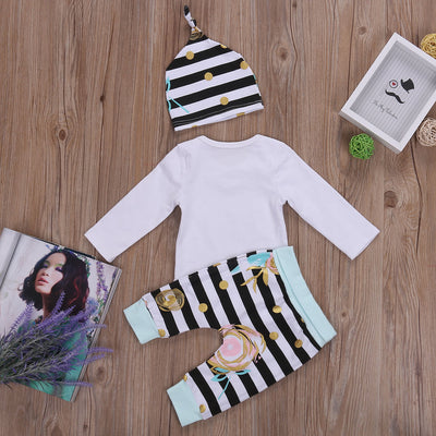 Family Matching Outfits 3PCS Kids Baby Girls Long Sleeve Romper Tops T-shirt Pants Leggings Hat Striped Outfits Set Clothes