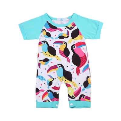 Baby Clothing Infant Kids Baby Girls Jumpsuit One Piece Bird Floral Romper Clothes Outfits