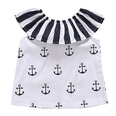 Summer Baby Clothing Infant Baby Girl T-Shirt Anchor Outfits Sunsuit Striped Ruffle T-Shirts Clothes