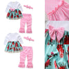 3Pcs Toddler born Baby Girls Floral Dress Tops+ Polka Dot Flares Pants+Headband Outfits Children Clothes