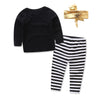 Fashion Kids Baby Girls Outfit Long Sleeve Clothes T-shirt Tops Striped Pants Gold Headband Children