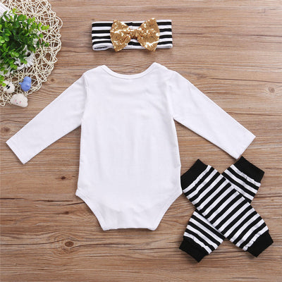 Set Toddler Kids Girls Clothes Long Sleeve Bodysuit Legging With Headband Outfits Children Clothing