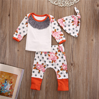 Baby Girl Boy Clothes Cotton Long Sleeve Shirt Pants Casual Hat Cap Set