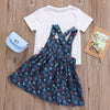 Kid Girls Clothing Baby Girl Kids Cotton T-shirt Top Overalls + Floral Dress Outfit